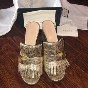 💥SOLD💥 Authentic Gucci Marmont Gold Heels